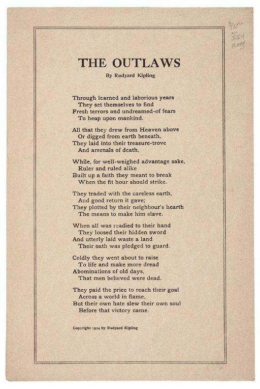 Outlaws Broadside Poem By Rudyard Kipling May 09 2013