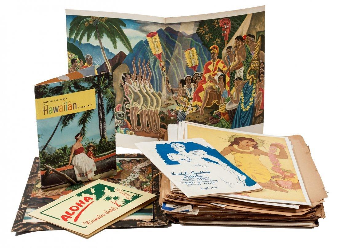 Scrapbook of travel ephemera from Hawaii trip 1950