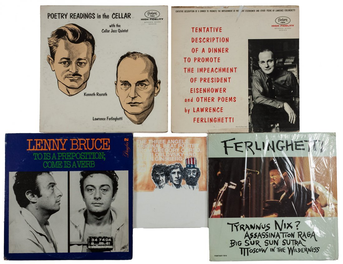 Five LP recordings of Beat authors and performers