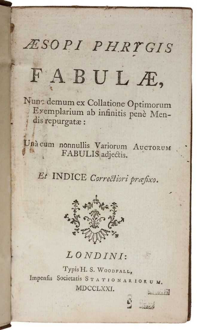 18th century edition of Aesop's Fables.