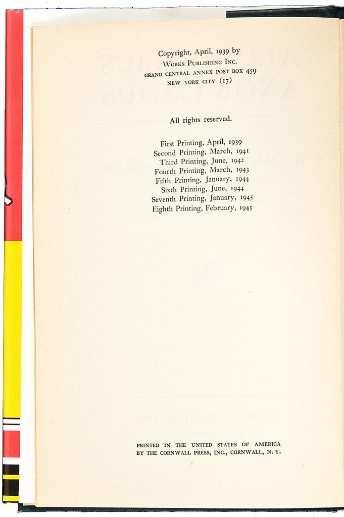 Alcoholics Anonymous First Edition Eighth Printing