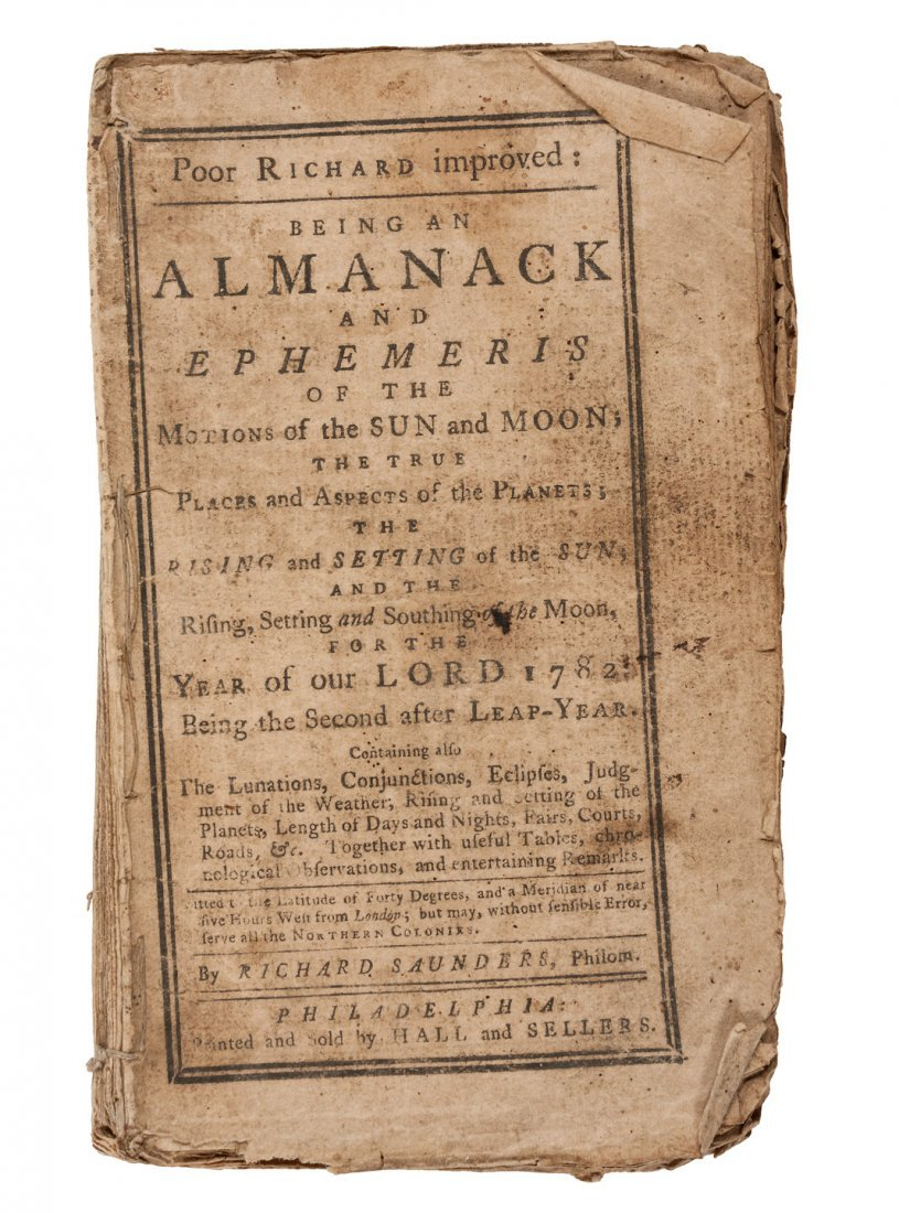 3 issues of Poor Richard Improved Almanack 1782, 83, &