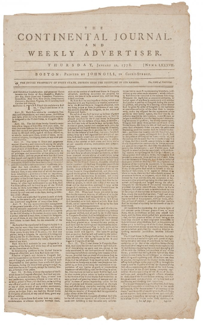 Early newspaper printing of the Articles of