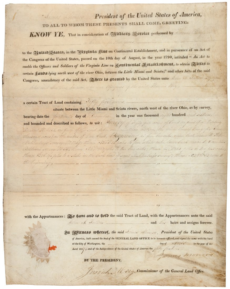Document, signed by Presdient James Monroe, 1817
