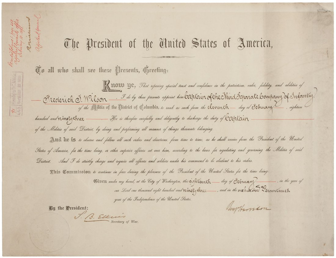 Benjamin Harrison signed Presidential appointment