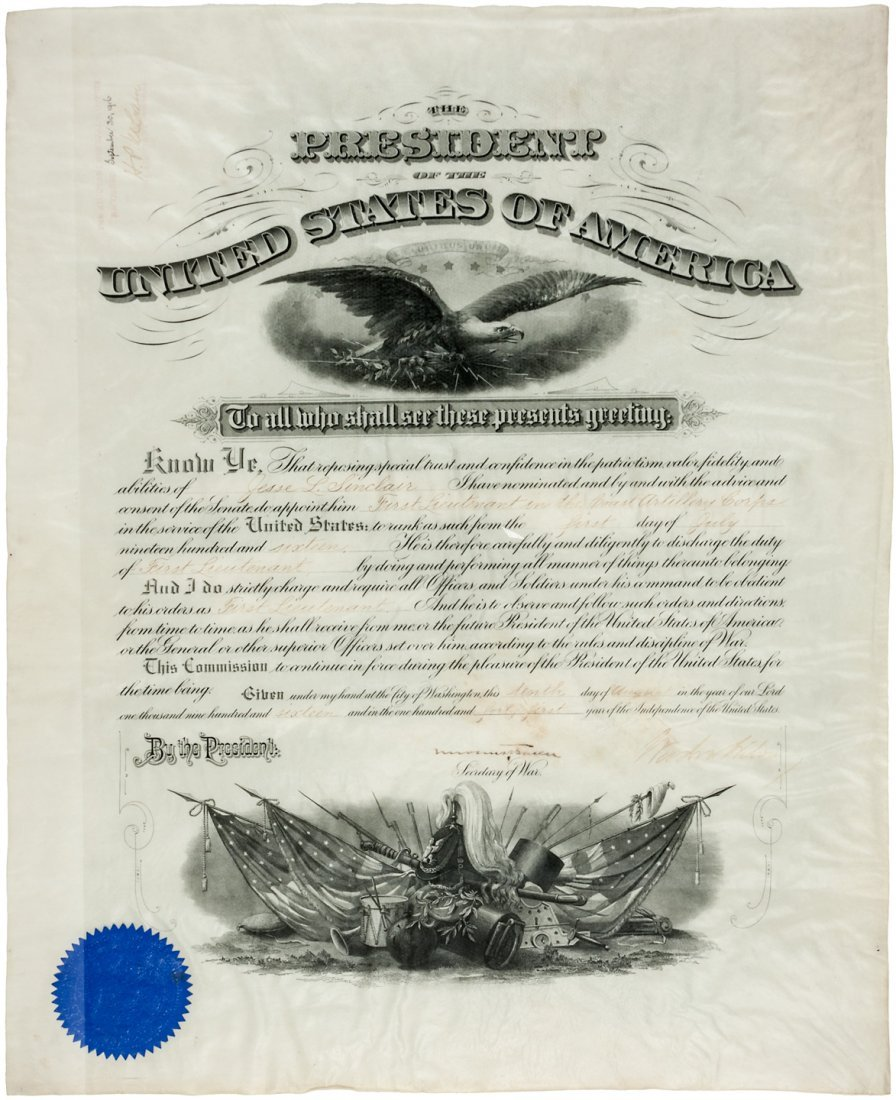 Presidential Appointment signed by Woodrow Wilson