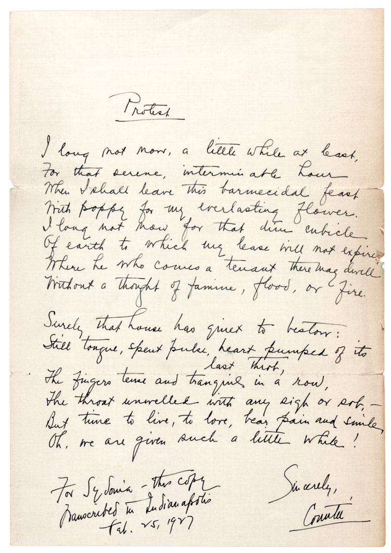 Autograph poem by Countee Cullen