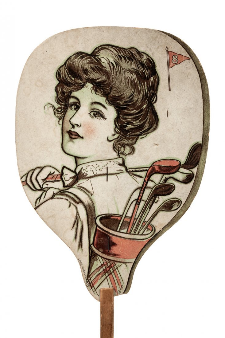 1904 golf advertising fan, color lithograph