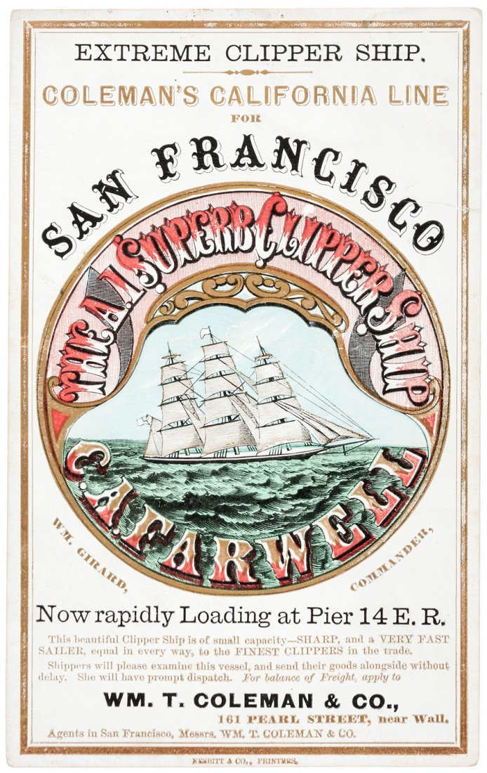 Clipper Ship Card for C.A. Farwell by Nesbitt