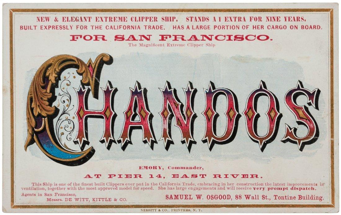Clipper Ship Sailing Card for Chandos by Nesbitt