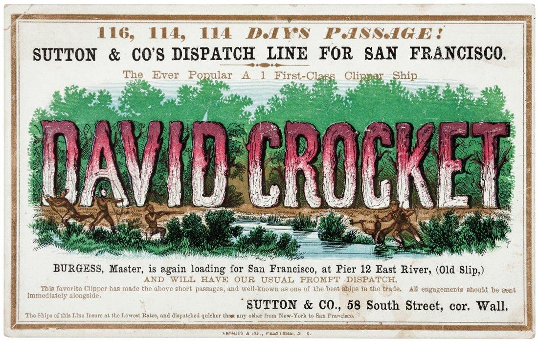 Clipper Ship Card for David Crocket by Nesbitt