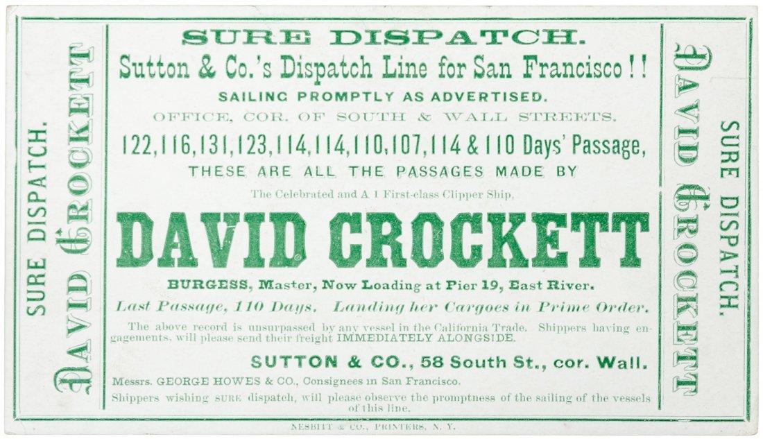 Sailing card for David Crockett by Nesbitt