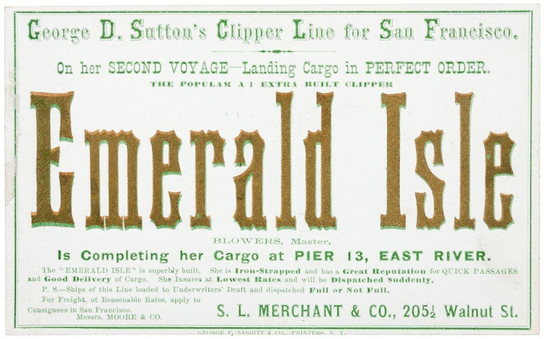 Clipper Ship Sailing Card for Emerald Isle by Nesbitt
