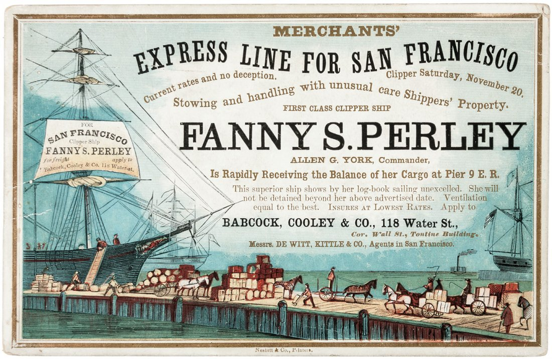 Clipper Ship Sailing Card for Fanny S. Perley by