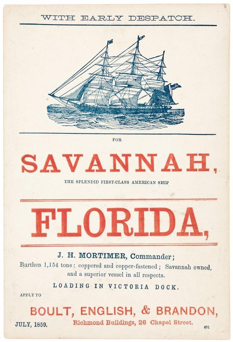 Sailing card, Liverpool to Savannah