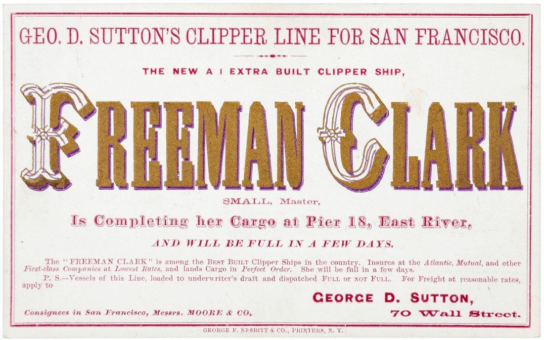 Clipper Ship Sailing Card for Freeman Clark by Nesbitt