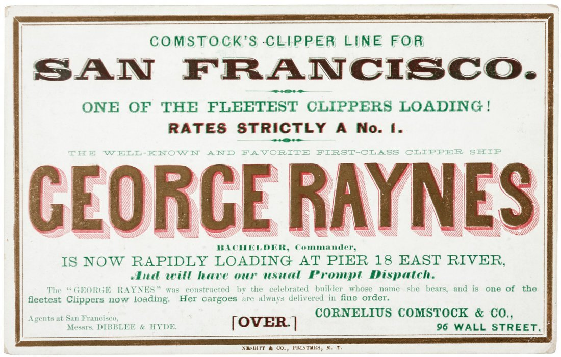 Clipper Ship Sailing Card for George Raynes by Nesbitt
