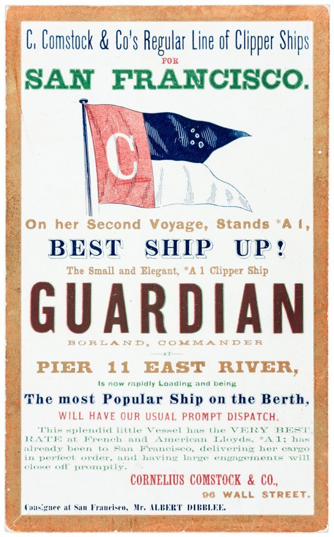 Clipper Ship Card for Guardian out of NY