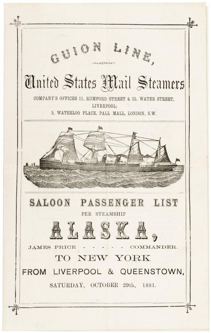 Translantic steamer passenger list