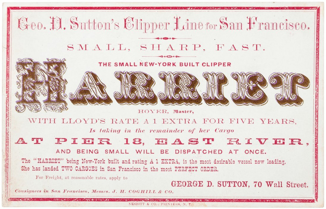 Clipper Ship Sailing Card for Harriet by Nesbitt