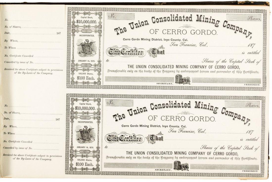 Book of unused Inyo Co. Mining stock certificates