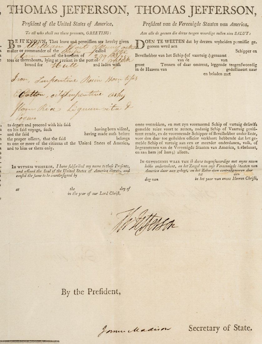 Signed by Jefferson and Madison