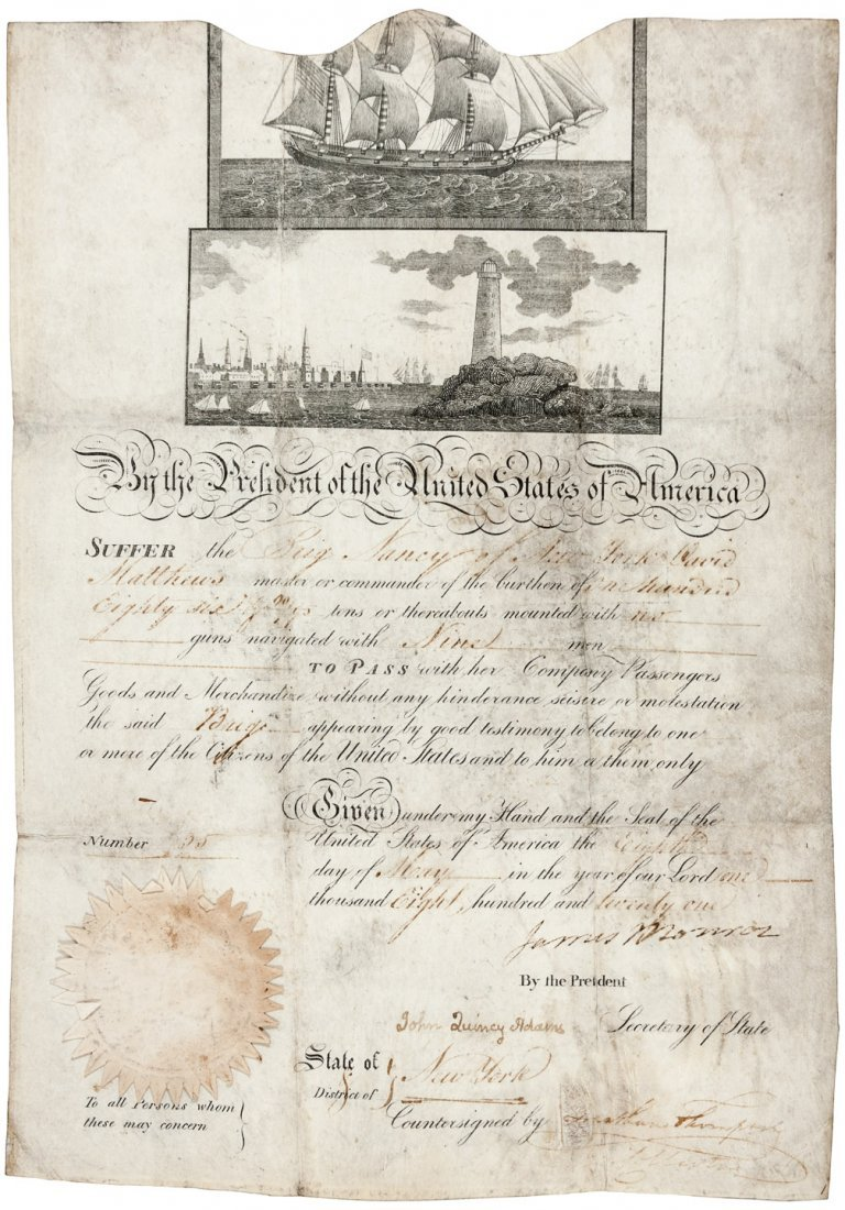 Ships Papers signed by James Monroe & John Q. Adams
