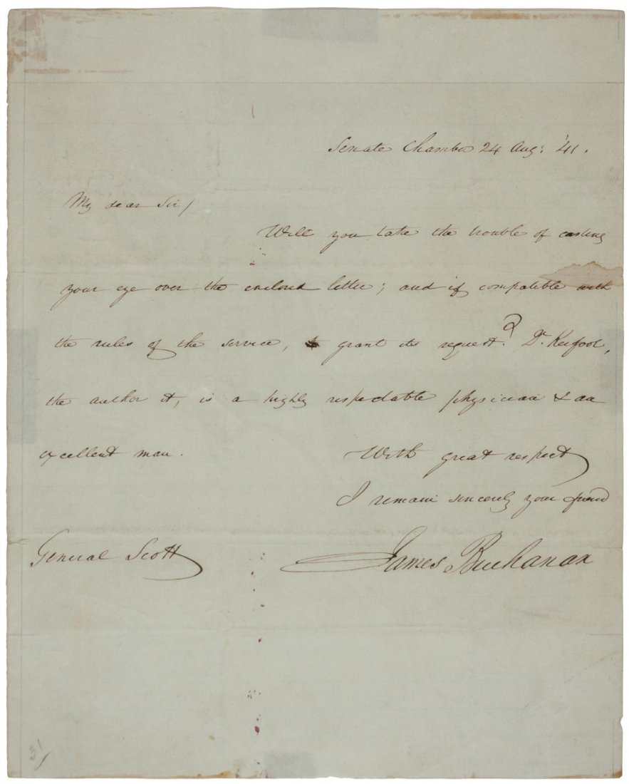 Autograph Letter, signed from James Buchanan