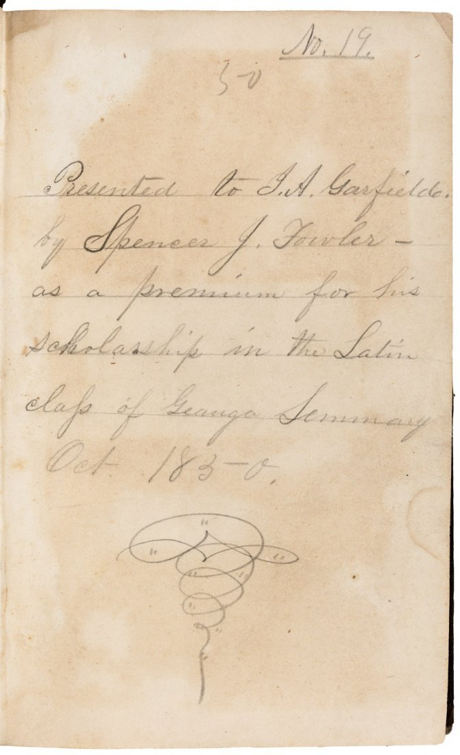 Book with 23 word inscription by James Garfield from