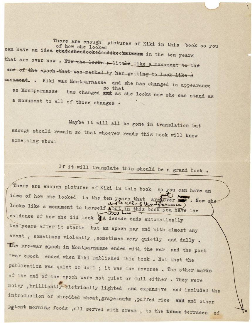 Hemingway's first draft introduction to Kiki's Memoirs