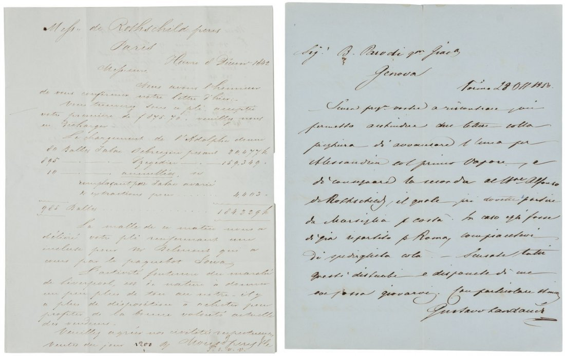 Two Rothschild Banking Letters 1842 50