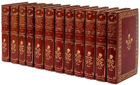 Works of Keats and Shelley full red morocco bindings