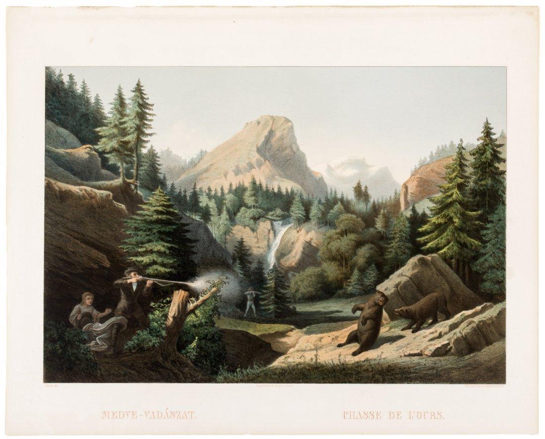 Medve-Vadaszat/Chasse de L'Ours print 1857