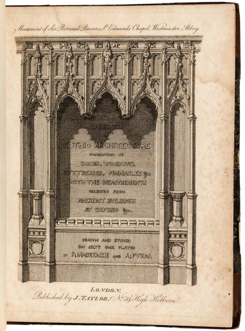 Gothic Architecture 61 engraved plates by Mackenzi &