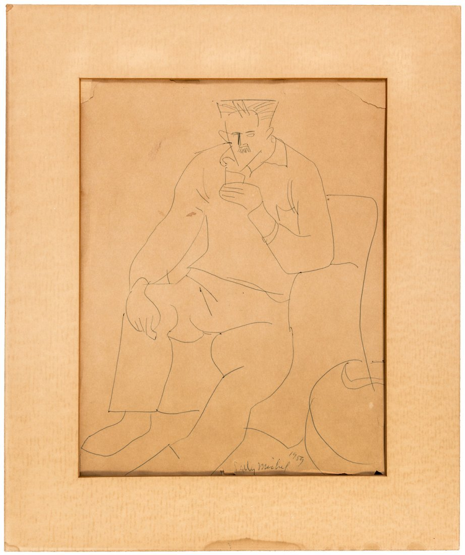 Original drawing of a man, signed by Sally Michel Avery