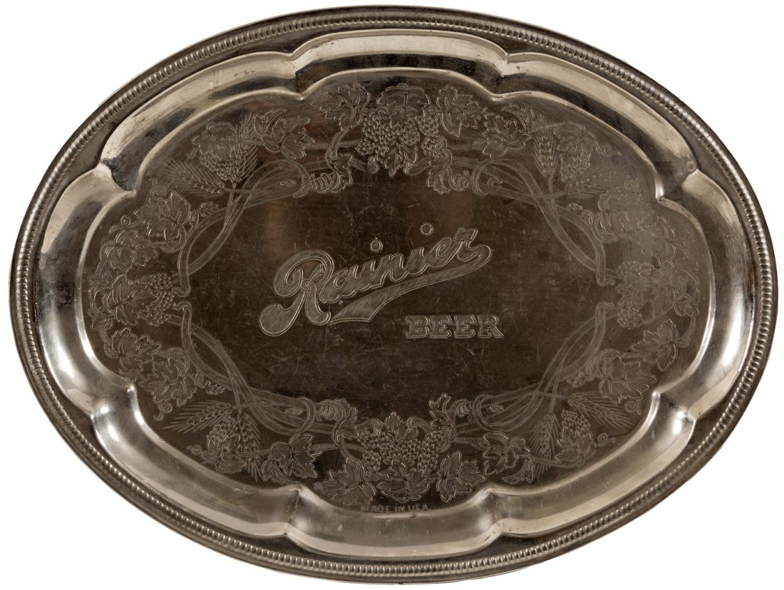 Faux silver beer serving tray from Ranier Beer, Seattle