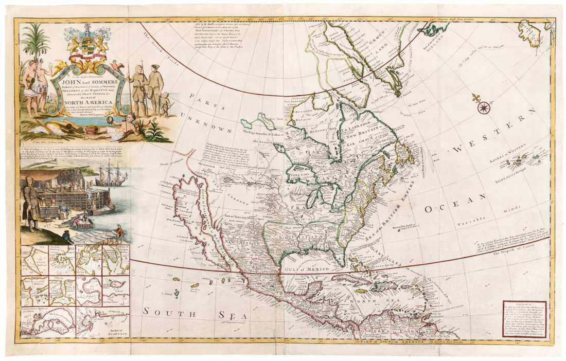 """Cod Fish"" Map of North America by Moll 1719"