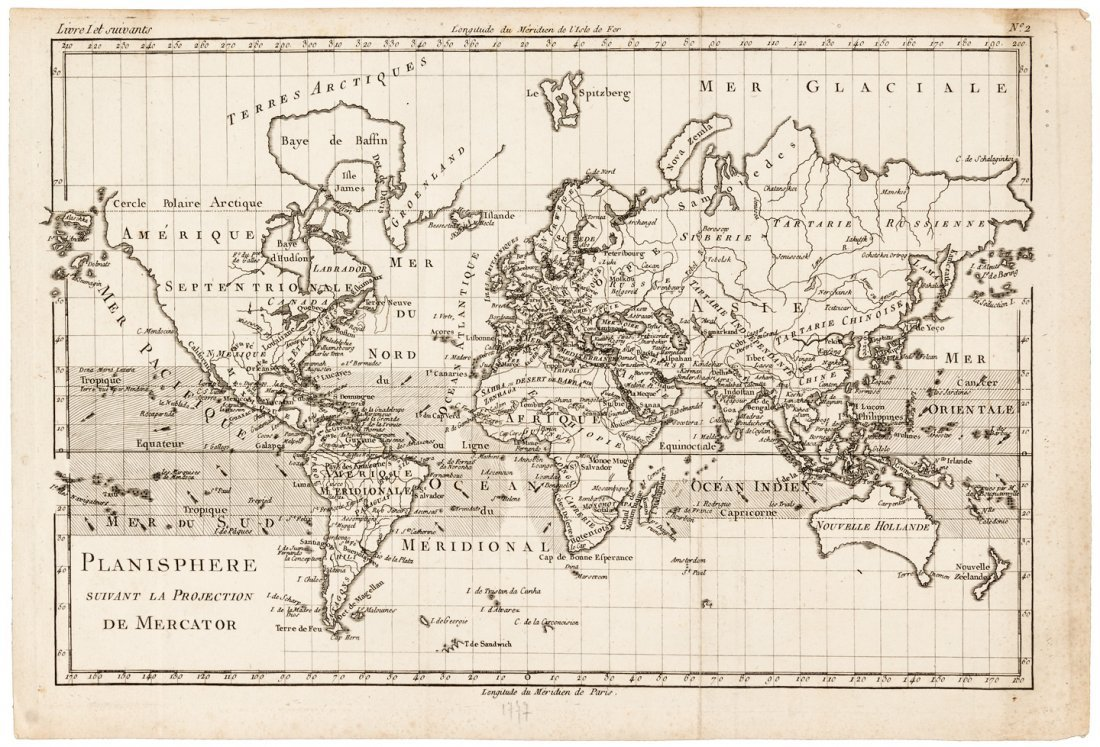 Attractive map of the world 1774