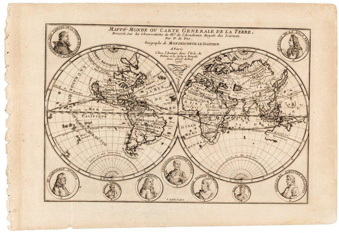 Double hemisphere world map 1705