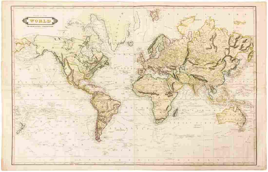 Uncommon chart of World c.1840