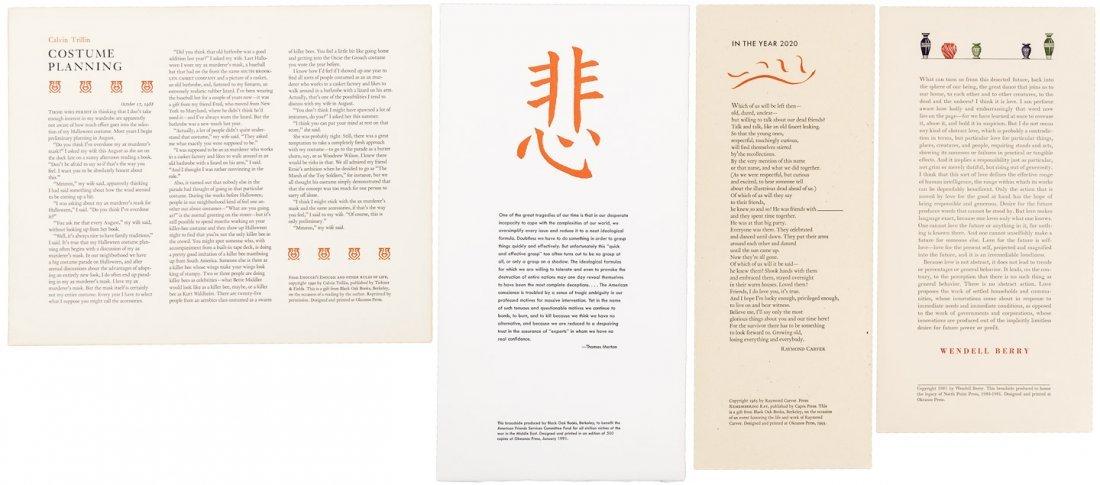 15 letterpress literary broadsides, Ken Kesey, Erica