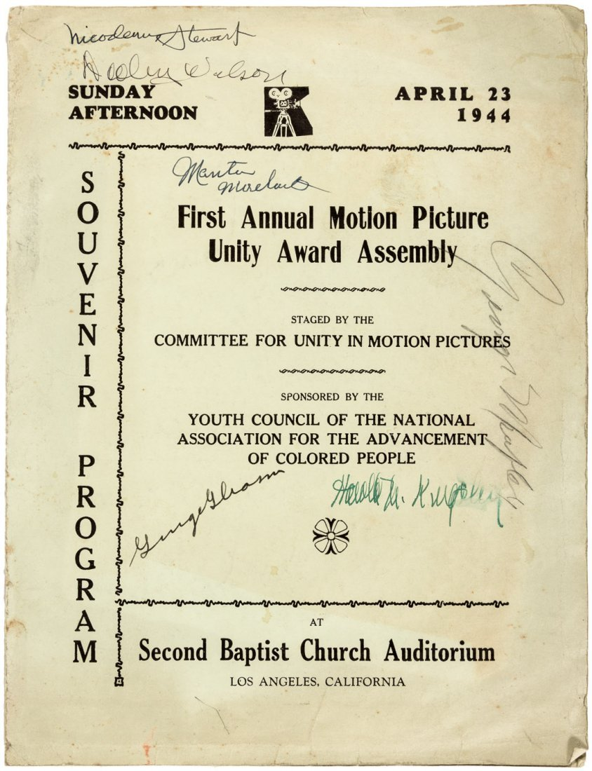 First Motion Picture Unity Award, signed by actors