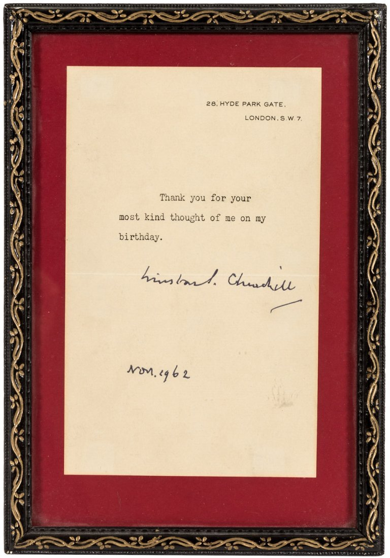 Winston Churchill Typed Note Signed 1962