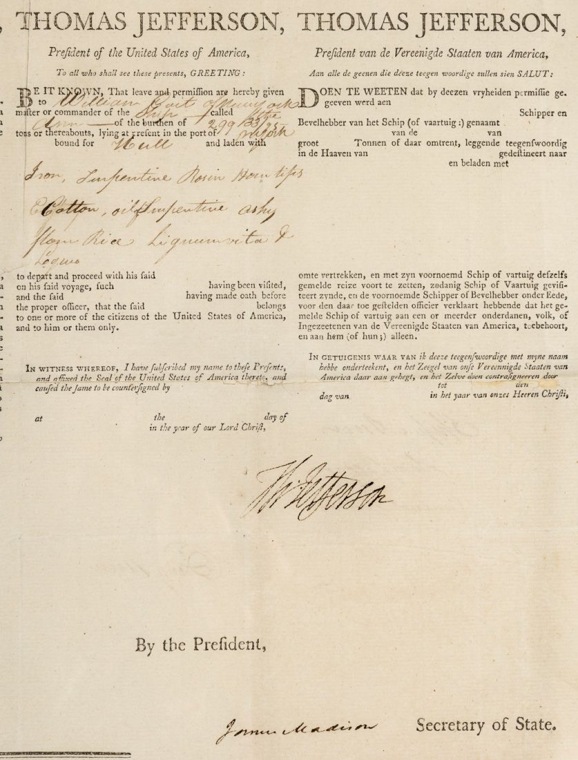 ***WITHDRAWN***Signed by Jefferson and Madison