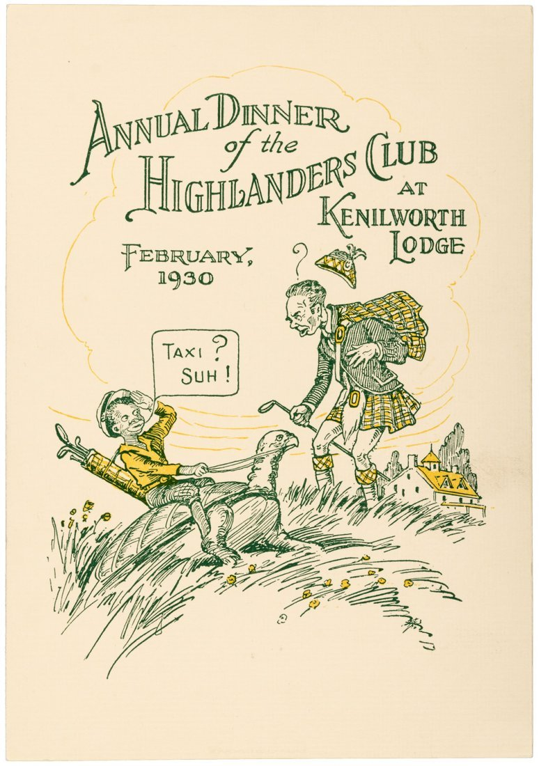 1930 golf menu cover for Annual Dinner at Kenilworth
