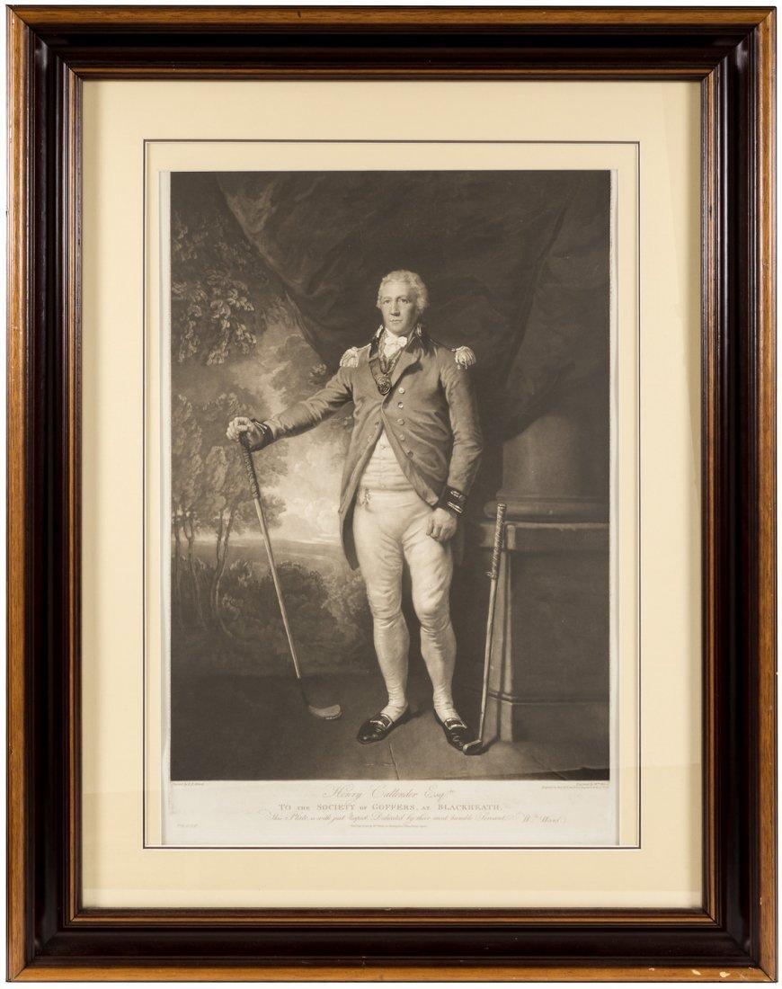 Hnery Callender Society of Golfers Proof mezzotint 1812