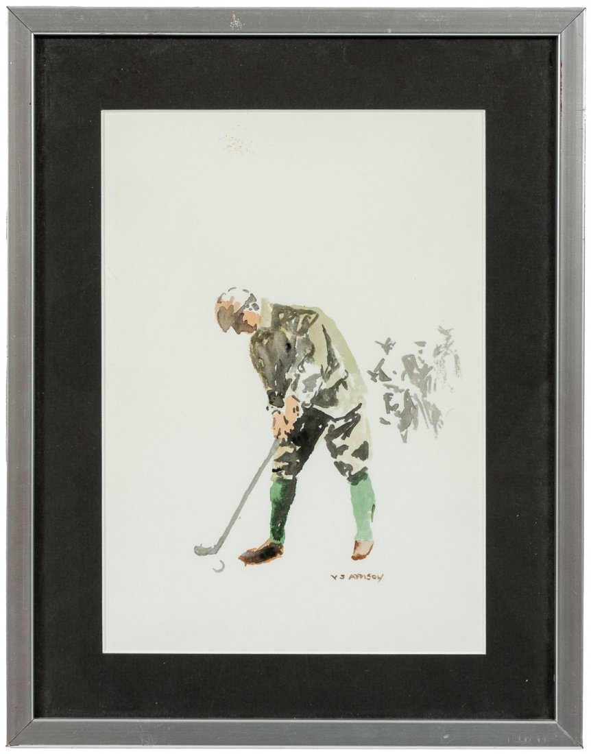 Signed watercolor of golfer by VS Addison