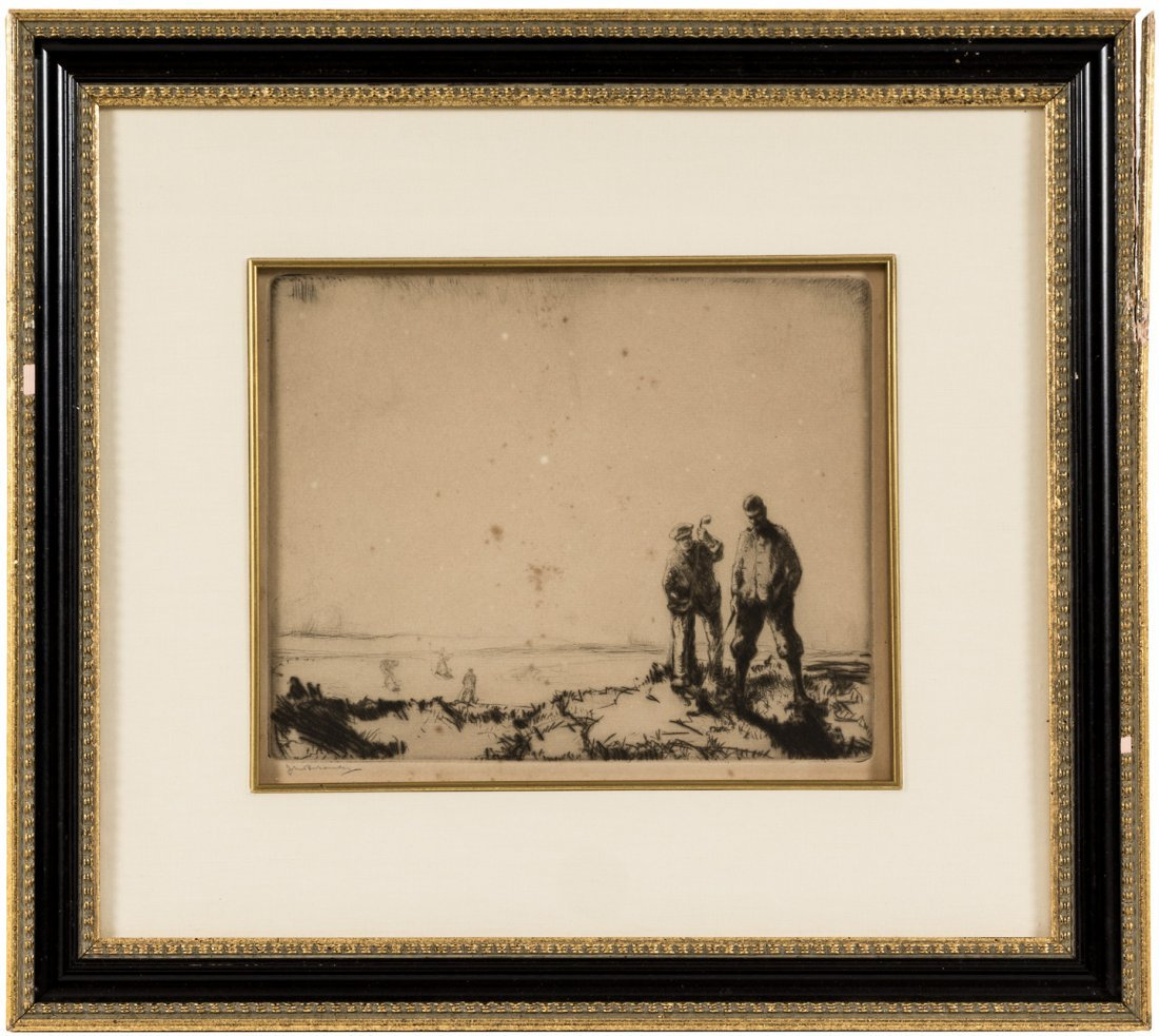 John R Barclay etching signed of a golfer in the rough