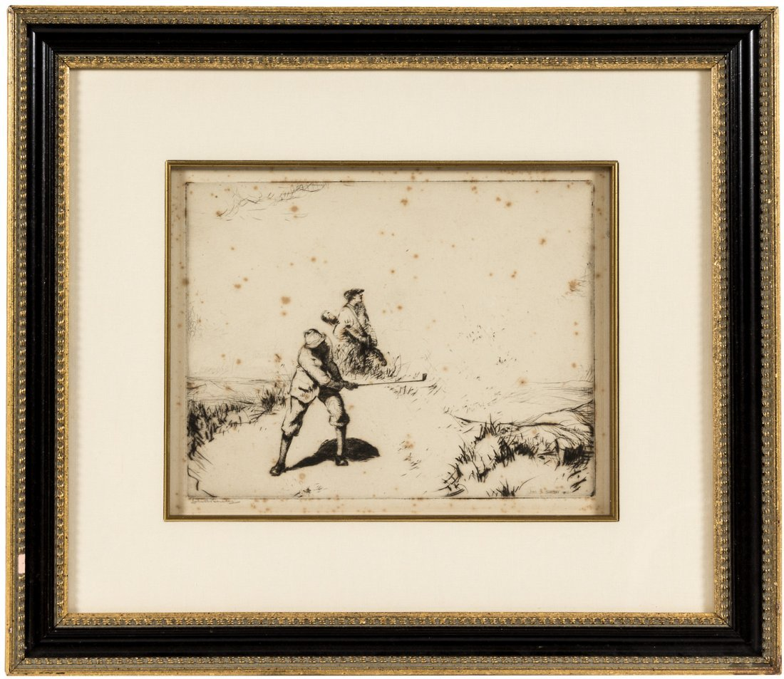 """""""Sand"""" etching signed by John R Barclay 1922"""