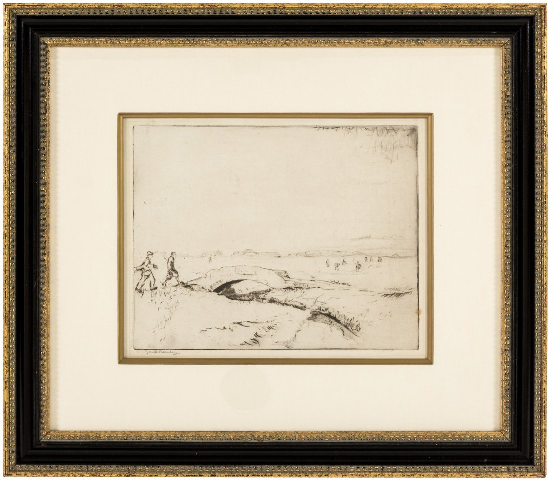 Swilcan Bridge, etching signed by John R. Barclay c1900